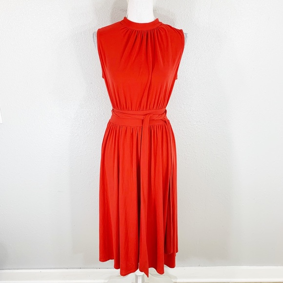 7747a2c4c Leota Dresses & Skirts - Leota red orange belted stretch midi dress Medium